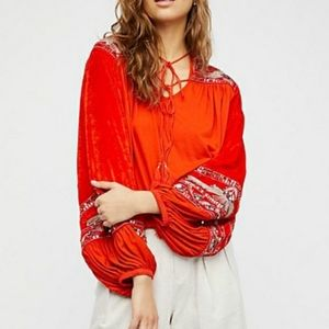 NWOT Free People Hearts Aflame peasant blouse xs